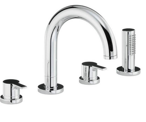 Desire Brassware Thermo Deck Mounted 4 Hole bath Mixer and shower