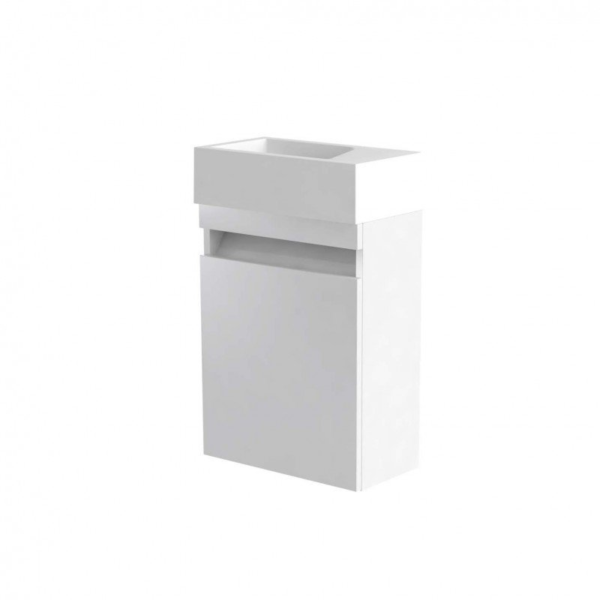 Ikon 400mm Wall Mounted Cloakroom Unit And Basin White From Kartell