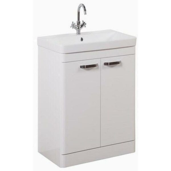 Options 500mm Floor Standing 2 Door Unit And Ceramic Basin White From Kartell
