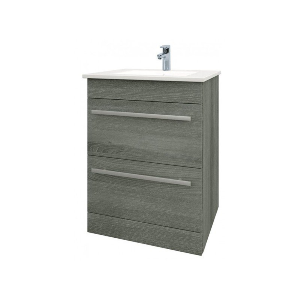 The Purity 600mm Grey Ash Floor Standing Drawer Unit And Basin From Kartell