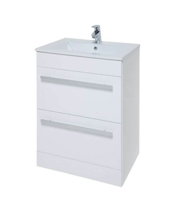 The Purity 600mm White Floor Standing Drawer Unit And Basin From Kartell