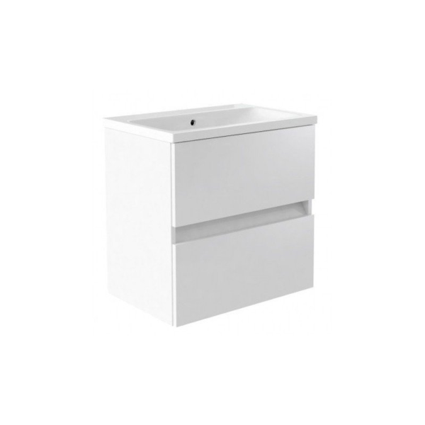 Ikon 600mm Wall Mounted Drawer Unit And Ceramic Basin White From Kartell