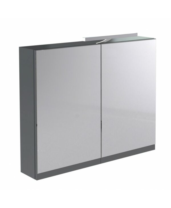 Ikon 800mm Mirror Cabinet with Light and Shaver Socket Grey From Kartell