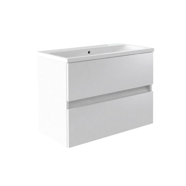 Ikon 800mm Wall Mounted Drawer Unit And Ceramic Basin White from Kartell