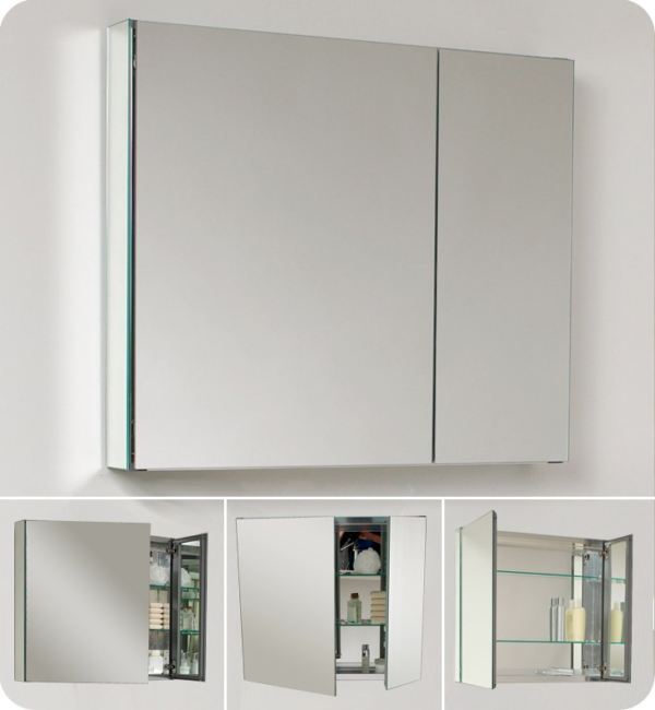 The Fusion Poco Mirrored Cabinet With Light From Pure